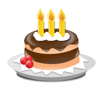 Kuchen mit drei Kerzen.