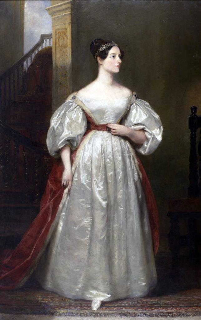 Ölgemälde, das Ada Lovelace in einem eleganten Kleid und mit elegantem Diadem zeigt.