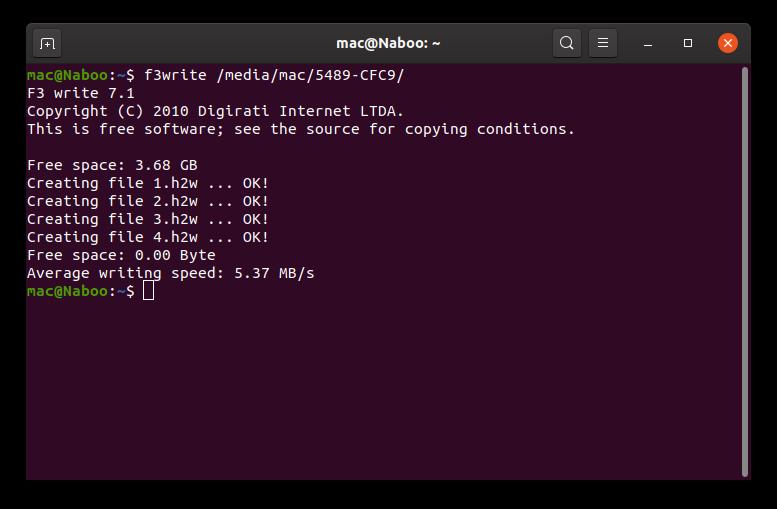 """Screenshot eines Terminal-Fensters unter """"Ubuntu"""", welches die Ausgabe des Befehls """"f3write"""" beinhaltet. Die Informationen decken die Gesamtgröße des Mediums, die Namen der vier (erfolgreich) erstellten Dateien und die durchschnittliche Schreibgeschwindigkeit ab."""