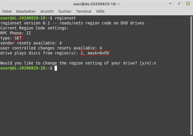 """Screenshot eines Terminals, in dem die Ausgabe des Programms """"regionset"""" zu sehen ist, wenn der Regionalcode eines DVD-Laufwerks gesetzt wurde."""
