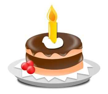 Kuchen mit einer Kerze.
