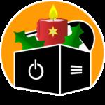 """Spezielles Logo der """"Computertruhe"""" für die Adventszeit. Aus der Truhe ragen eine brennende, mit einem Stern verzierte Kerze und zwei Blätter einer Stechpalme."""