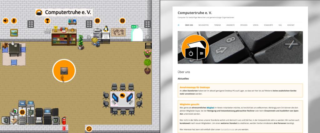 """Ein Avatar steht vor dem PC-Arbeitsplatz im Wohnzimmer und erhält die """"Computertruhe""""-Website angezeigt."""