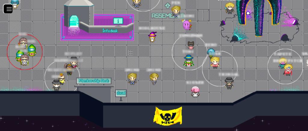 """Screenshot der Lobby, in der sich unzählige Avatare tummeln. Ebenfalls sind der Infodesk, eine Flagge mit dem Pesthörnchen und der untere Teil der Rakete """"Fairydust"""" zu sehen."""
