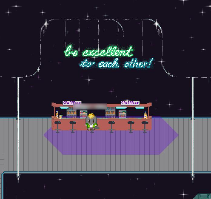 """Ein Avatar """"sitzt"""" an einer Bar, genannt """"Spacebar"""", in irgendeinem Teil der Raumstation. Der Schriftzug """"be excellent to each other!"""" hängt über der Bar."""