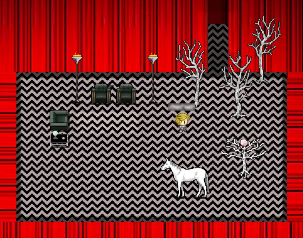 Ein Raum mit roten Wänden und einem Boden mit schwarz-weißem Zickzackmuster. Darin stehen drei schwarze Sessel, ein kleiner Tisch, zwei Fackeln, einige weiße, kahle Bäume, ein Schimmel und ein Avatar.
