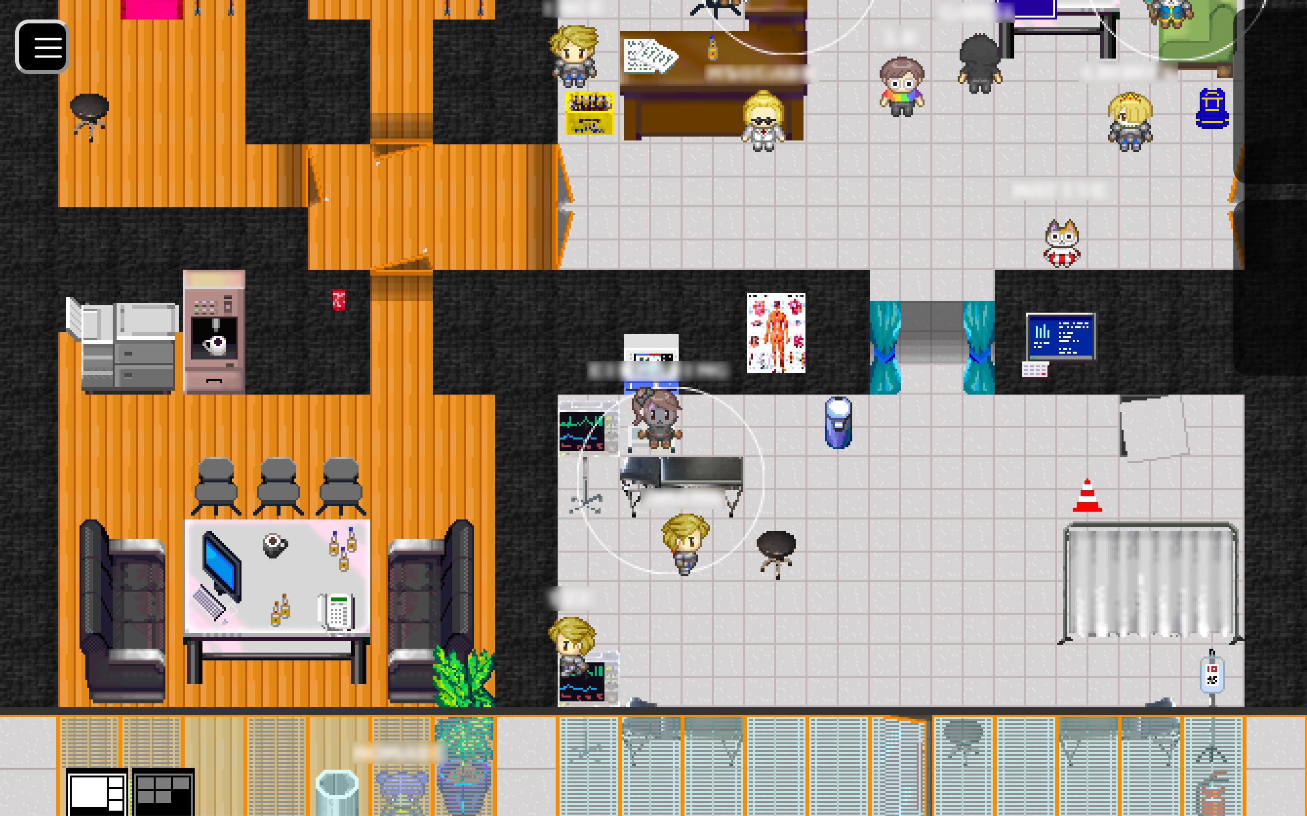 """Screenshot des medizinischen Bereichs des """"CERT"""", der aus einer Art Büro, einem Empfangsbereich und einem Untersuchungszimmer besteht. Es tummeln sich mehrere Avatare dort."""