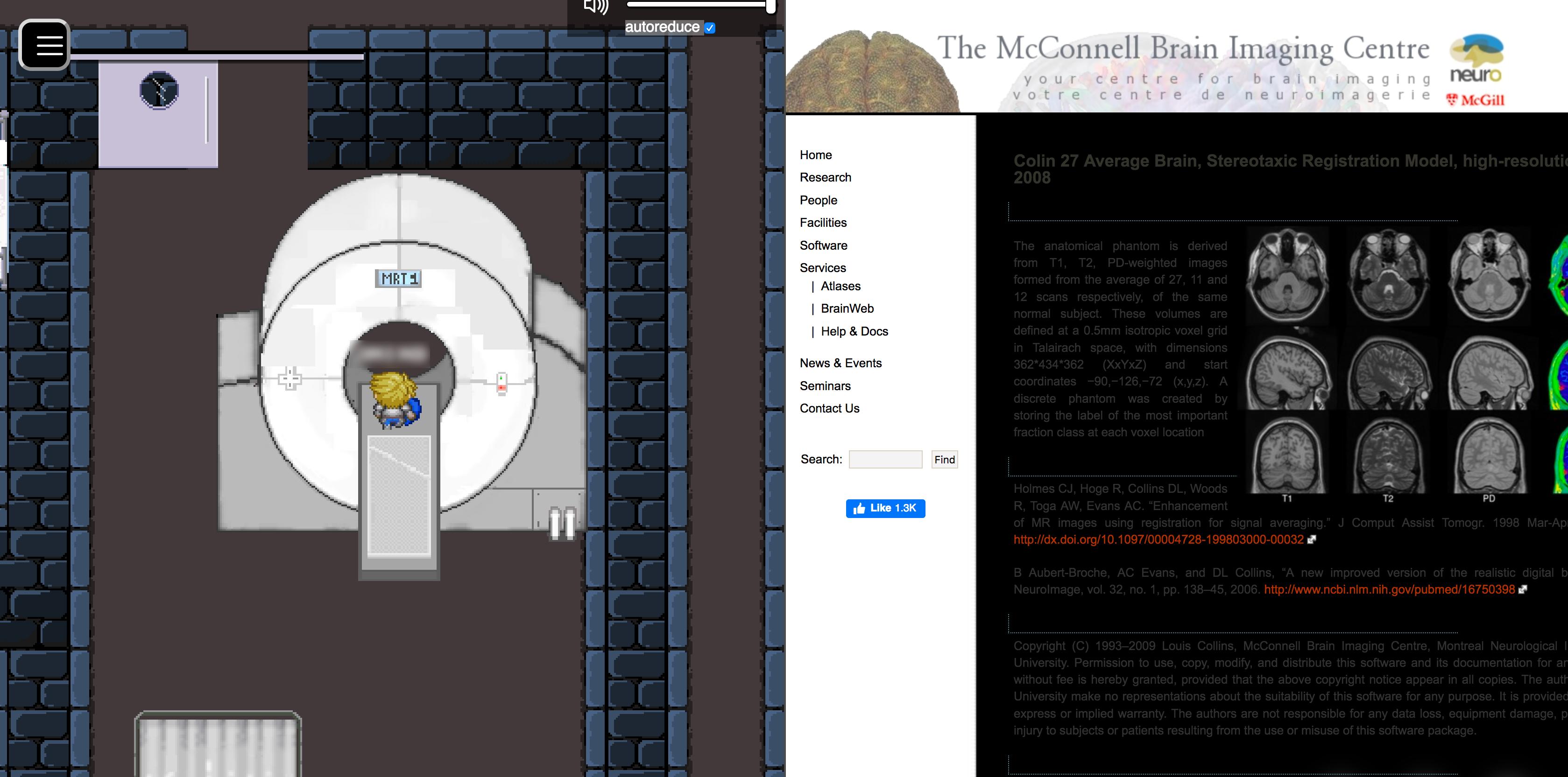 """Die linke Seite des Screenshots zeigt einen Avatar in einem Magnetresonanztomographen. Rechts wird die Website des """"The McConnell Brain Image Centre"""" mit MRT-Bildern eines menschlichen Kopfes angezeigt."""