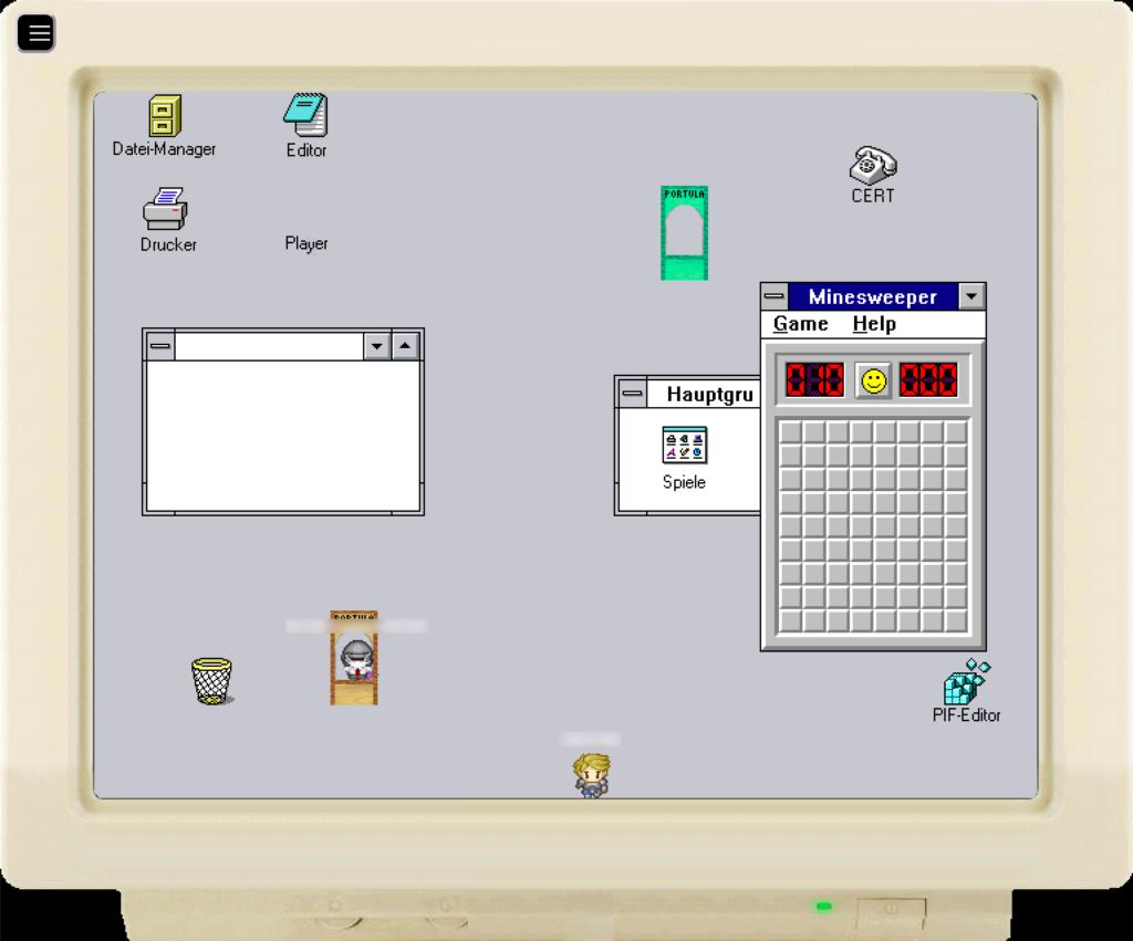 """Die Karte zeigt einen Röhrenmonitor, auf dem ein alter """"Windows""""-Desktop mit diversen Symbolen und einem geöffneten """"Minesweeper""""-Fenster dargestellt wird. Zudem befinden sich zwei Avatare auf diesem Desktop."""