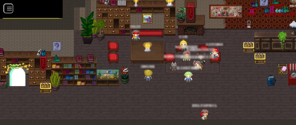 """Screenshot eines Teils der Assembly des """"RaumZeitLabors"""". Der Raum ist mit vielen Schränken, Regalen und Sitzmöglichkeiten ausgestattet und wirkt sehr gemütlich. Zudem finden sich viele Referenzen auf Computerspiele."""