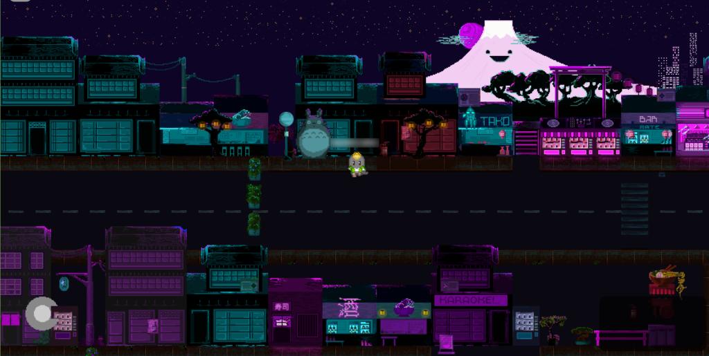 Der Screenshot zeigt eine Straße unter einem Sternenhimmel, die von Gebäuden im japanischen Stil umsäumt ist. Im Hintergrund steht ein Berg mit einem lächelnden Gesicht (vielleicht der Fuji?). Einzig ein Avatar befindet sich verlassen auf der Straße.