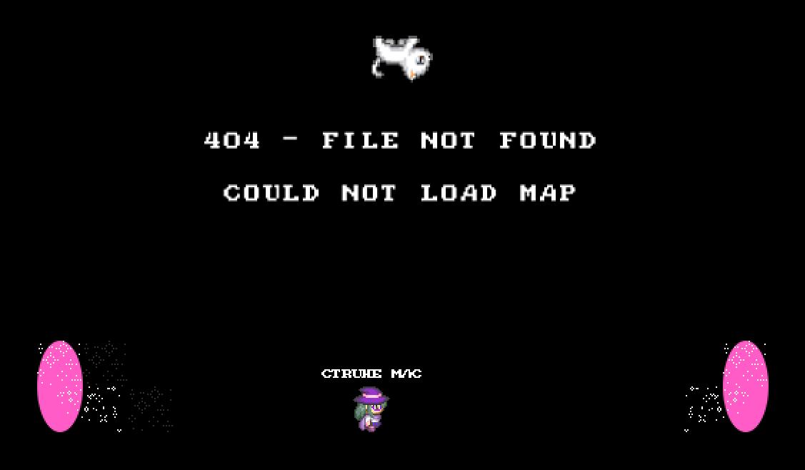 """Screenshot einer schwarzen Seite, mit je einem Portal an den Rändern und einem Avatar dazwischen. Am oberen Rand befindet sich eine weiße, auf dem Kopf stehende Katze und darunter der Text: """"404 – FILE NOT FOUND – COULD NOT LOAD MAP"""""""