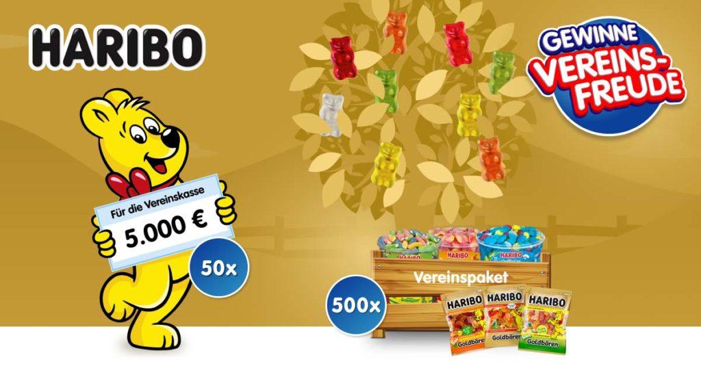 """Infografik zur """"HARIBO""""-Aktion """"Vereinsfreude"""", die besagt, dass 50-mal 5000 € und 500 Süßwarenpakete gewonnen werden können."""