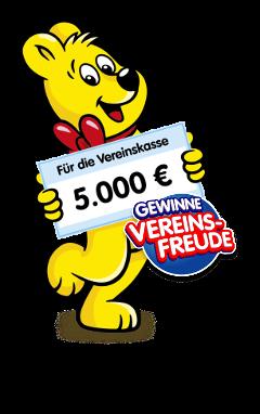 """Badge mit dem """"HARIBO""""-Goldbär und dem Text """"Für die Vereinskasse 5.000 € - Gewinne Vereinsfreude - Jetzt mitmachen und mitnaschen!""""."""