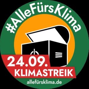 """Verschmelzung unseres """"Computertruhe""""-Logos mit dem #AlleFürsKlima-Logo."""